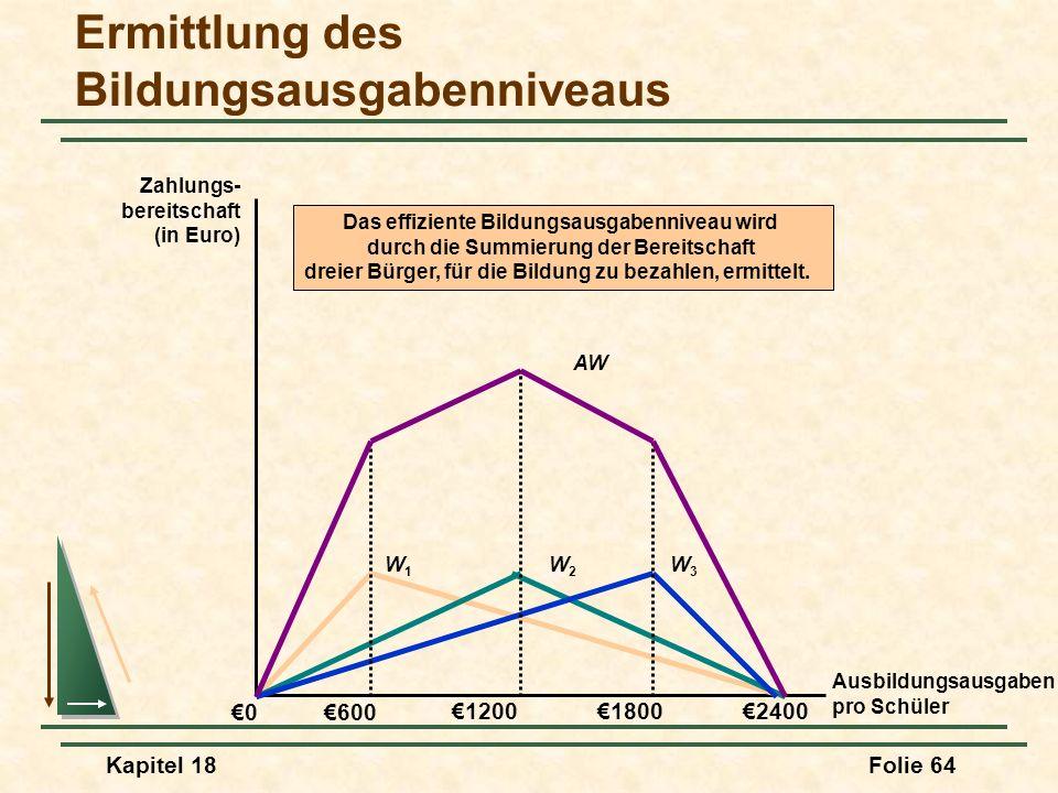 Kapitel 18Folie 65 Ermittlung des Bildungsausgabenniveaus Ausbildungsausgaben pro Schüler 0 Zahlungs- bereitschaft (in Euro) 1200 600 18002400 W1W1 W2W2 W3W3 AW Wird eine Mehrheitsentscheidung zu einem effizienten Ergebnis führen.