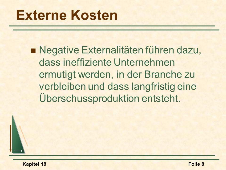 Kapitel 18Folie 9 Externalitäten Positive Externalitäten und Ineffizienz Externalitäten können auch zu einem zu niedrigen Produktionsniveau führen.