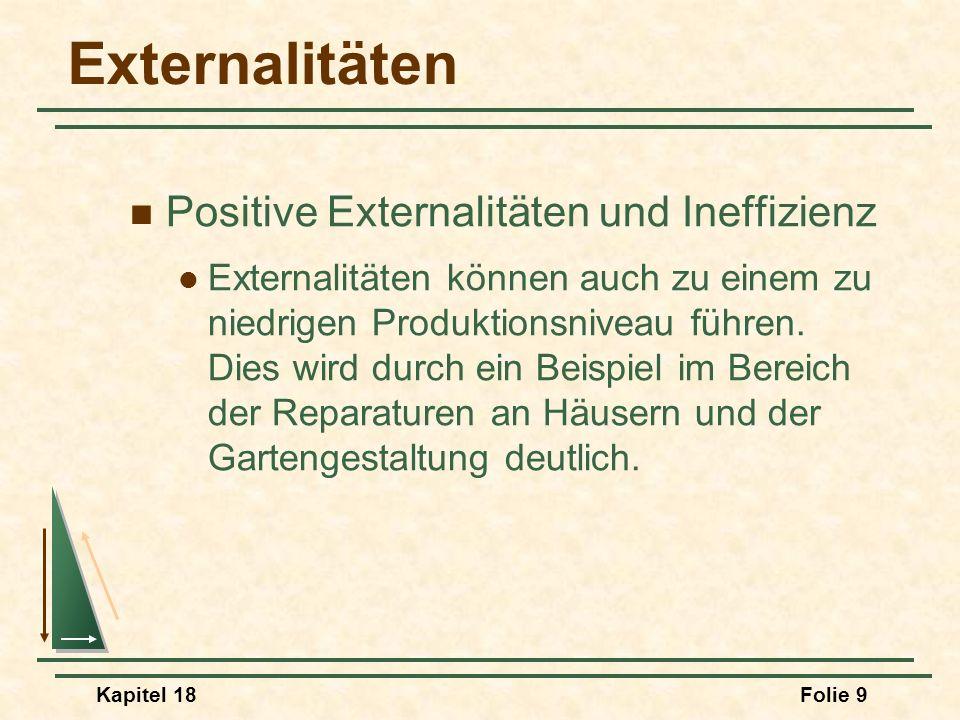 Kapitel 18Folie 10 MC P1P1 Externer Nutzen Reparaturniveau Wert D Werden Forschung und Entwicklung durch positive Externalitäten behindert.