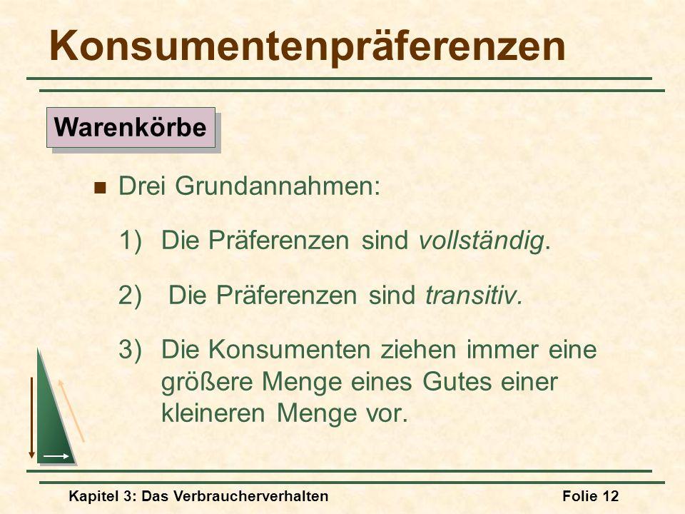 Kapitel 3: Das VerbraucherverhaltenFolie 12 Konsumentenpräferenzen Drei Grundannahmen: 1) Die Präferenzen sind vollständig.