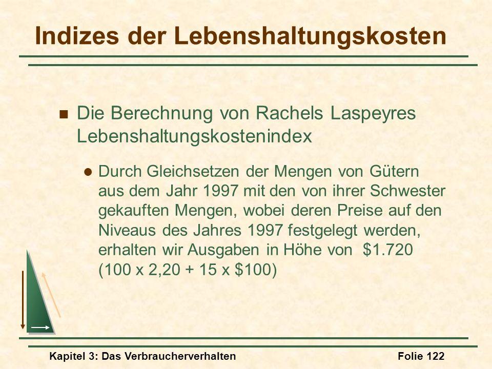 Kapitel 3: Das VerbraucherverhaltenFolie 122 Indizes der Lebenshaltungskosten Die Berechnung von Rachels Laspeyres Lebenshaltungskostenindex Durch Gleichsetzen der Mengen von Gütern aus dem Jahr 1997 mit den von ihrer Schwester gekauften Mengen, wobei deren Preise auf den Niveaus des Jahres 1997 festgelegt werden, erhalten wir Ausgaben in Höhe von $1.720 (100 x 2,20 + 15 x $100)