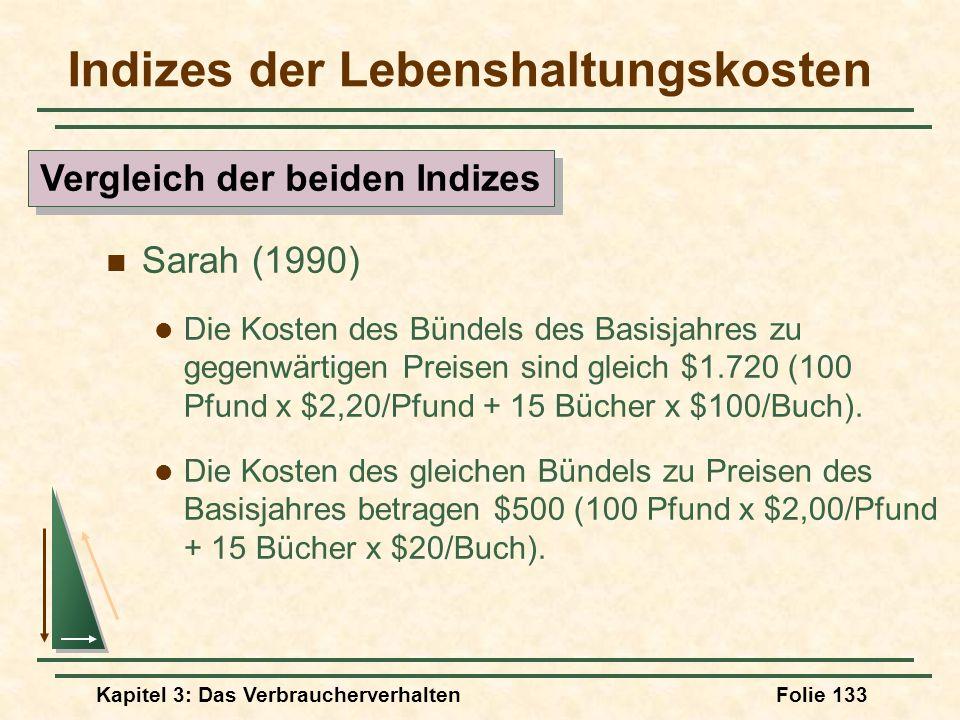 Kapitel 3: Das VerbraucherverhaltenFolie 133 Indizes der Lebenshaltungskosten Sarah (1990) Die Kosten des Bündels des Basisjahres zu gegenwärtigen Preisen sind gleich $1.720 (100 Pfund x $2,20/Pfund + 15 Bücher x $100/Buch).