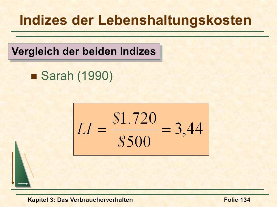 Kapitel 3: Das VerbraucherverhaltenFolie 134 Indizes der Lebenshaltungskosten Sarah (1990) Vergleich der beiden Indizes
