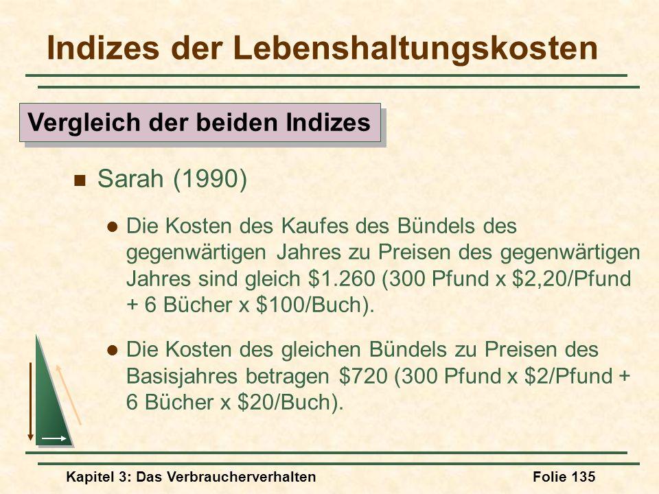 Kapitel 3: Das VerbraucherverhaltenFolie 135 Indizes der Lebenshaltungskosten Sarah (1990) Die Kosten des Kaufes des Bündels des gegenwärtigen Jahres zu Preisen des gegenwärtigen Jahres sind gleich $1.260 (300 Pfund x $2,20/Pfund + 6 Bücher x $100/Buch).
