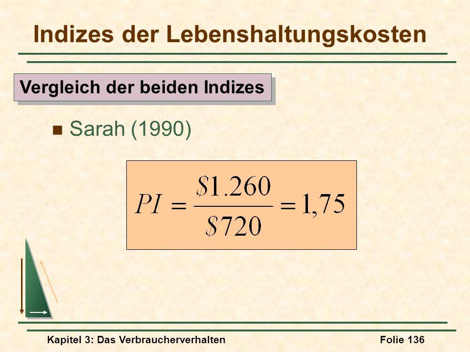 Kapitel 3: Das VerbraucherverhaltenFolie 136 Indizes der Lebenshaltungskosten Sarah (1990) Vergleich der beiden Indizes