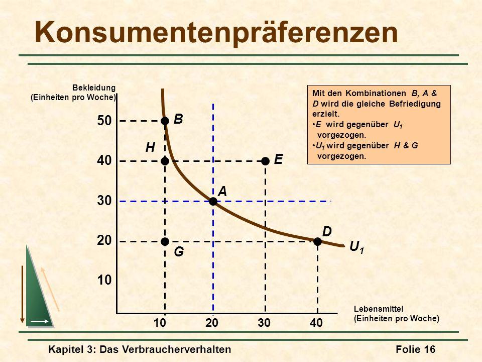 Kapitel 3: Das VerbraucherverhaltenFolie 16 U1U1 Mit den Kombinationen B, A & D wird die gleiche Befriedigung erzielt.