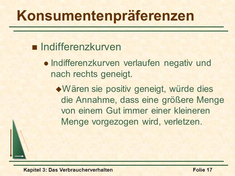 Kapitel 3: Das VerbraucherverhaltenFolie 17 Konsumentenpräferenzen Indifferenzkurven Indifferenzkurven verlaufen negativ und nach rechts geneigt.