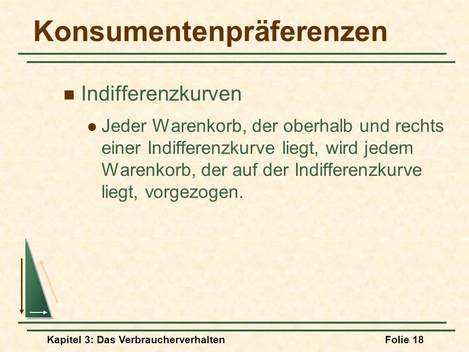Kapitel 3: Das VerbraucherverhaltenFolie 18 Konsumentenpräferenzen Indifferenzkurven Jeder Warenkorb, der oberhalb und rechts einer Indifferenzkurve liegt, wird jedem Warenkorb, der auf der Indifferenzkurve liegt, vorgezogen.