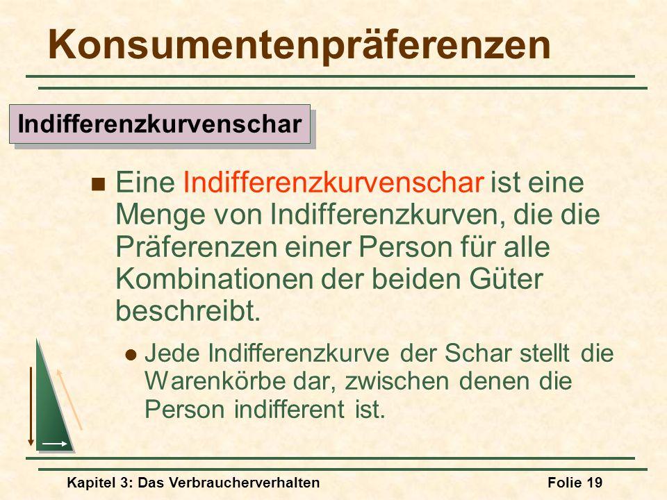 Kapitel 3: Das VerbraucherverhaltenFolie 19 Konsumentenpräferenzen Eine Indifferenzkurvenschar ist eine Menge von Indifferenzkurven, die die Präferenzen einer Person für alle Kombinationen der beiden Güter beschreibt.