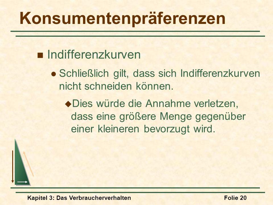 Kapitel 3: Das VerbraucherverhaltenFolie 20 Konsumentenpräferenzen Indifferenzkurven Schließlich gilt, dass sich Indifferenzkurven nicht schneiden können.