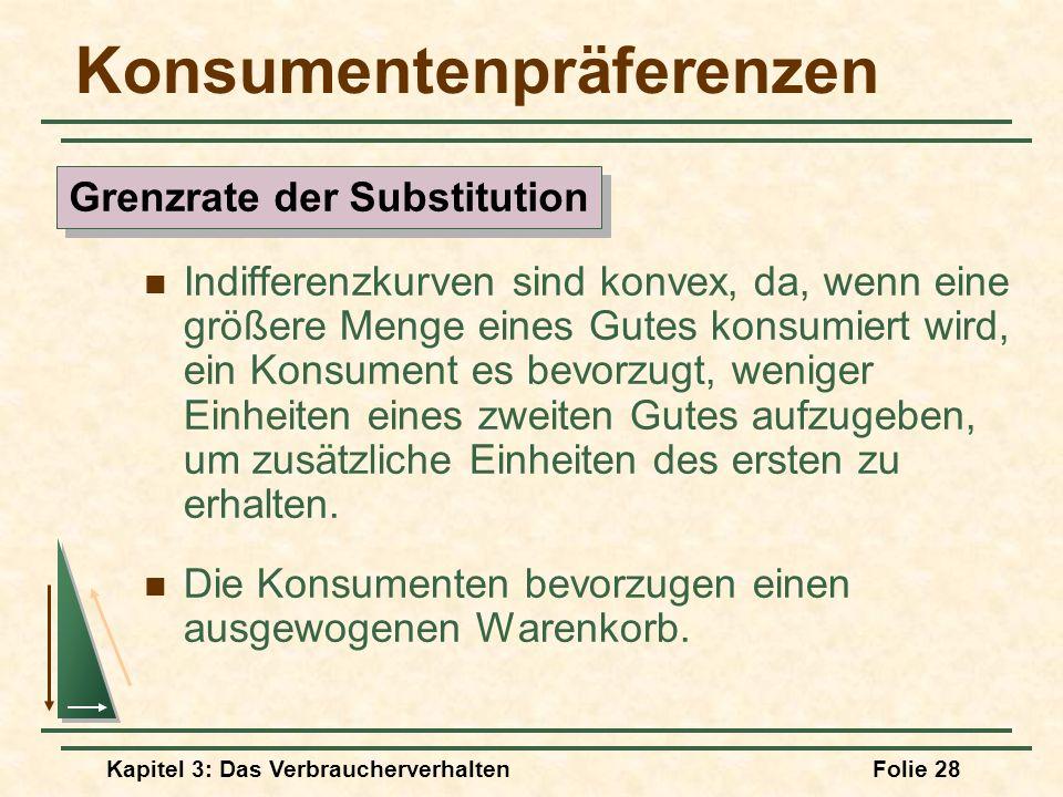 Kapitel 3: Das VerbraucherverhaltenFolie 28 Konsumentenpräferenzen Indifferenzkurven sind konvex, da, wenn eine größere Menge eines Gutes konsumiert wird, ein Konsument es bevorzugt, weniger Einheiten eines zweiten Gutes aufzugeben, um zusätzliche Einheiten des ersten zu erhalten.