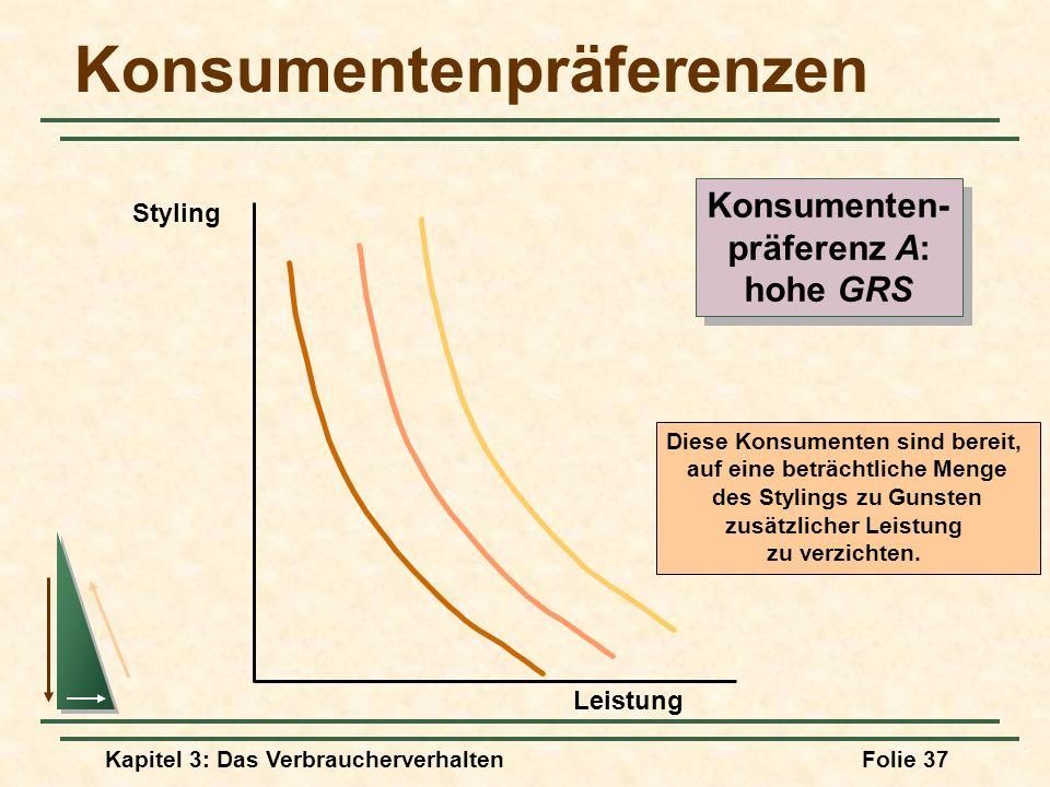 Kapitel 3: Das VerbraucherverhaltenFolie 37 Konsumentenpräferenzen Diese Konsumenten sind bereit, auf eine beträchtliche Menge des Stylings zu Gunsten zusätzlicher Leistung zu verzichten.