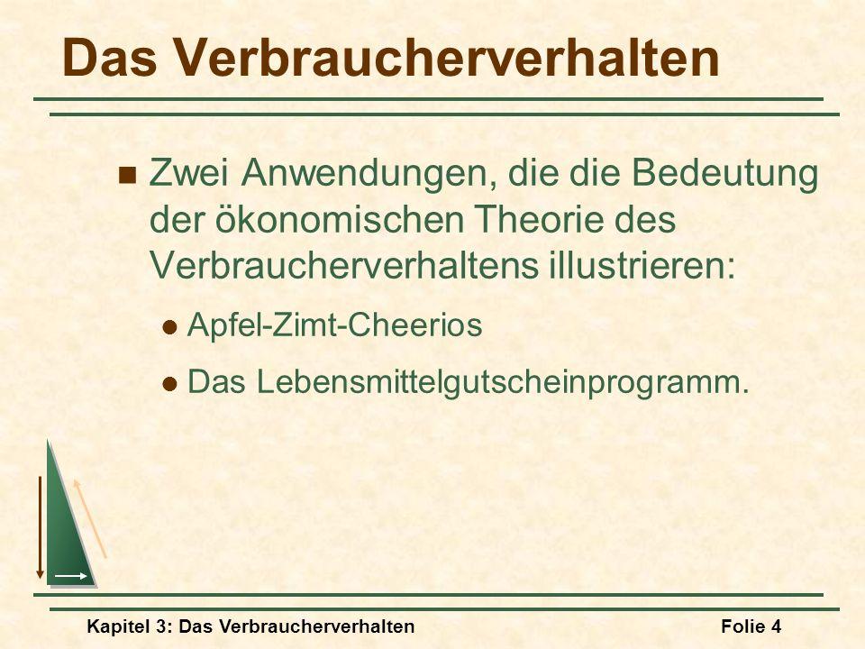 Kapitel 3: Das VerbraucherverhaltenFolie 4 Das Verbraucherverhalten Zwei Anwendungen, die die Bedeutung der ökonomischen Theorie des Verbraucherverhaltens illustrieren: Apfel-Zimt-Cheerios Das Lebensmittelgutscheinprogramm.