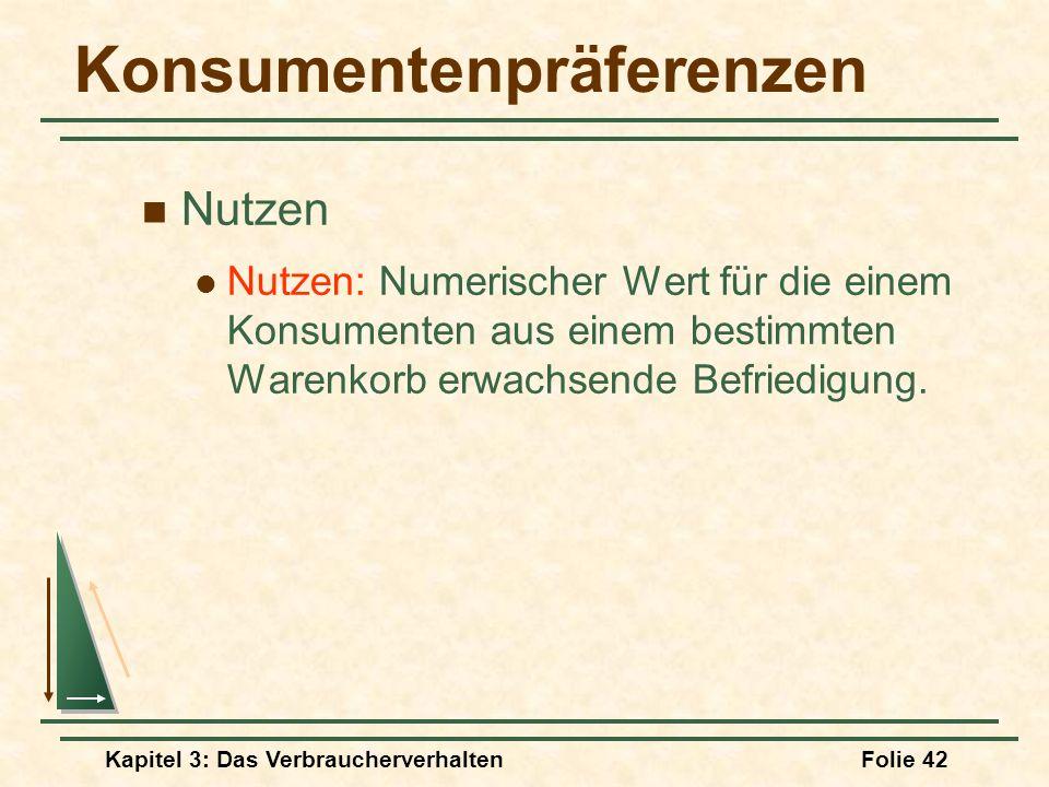 Kapitel 3: Das VerbraucherverhaltenFolie 42 Konsumentenpräferenzen Nutzen Nutzen: Numerischer Wert für die einem Konsumenten aus einem bestimmten Warenkorb erwachsende Befriedigung.