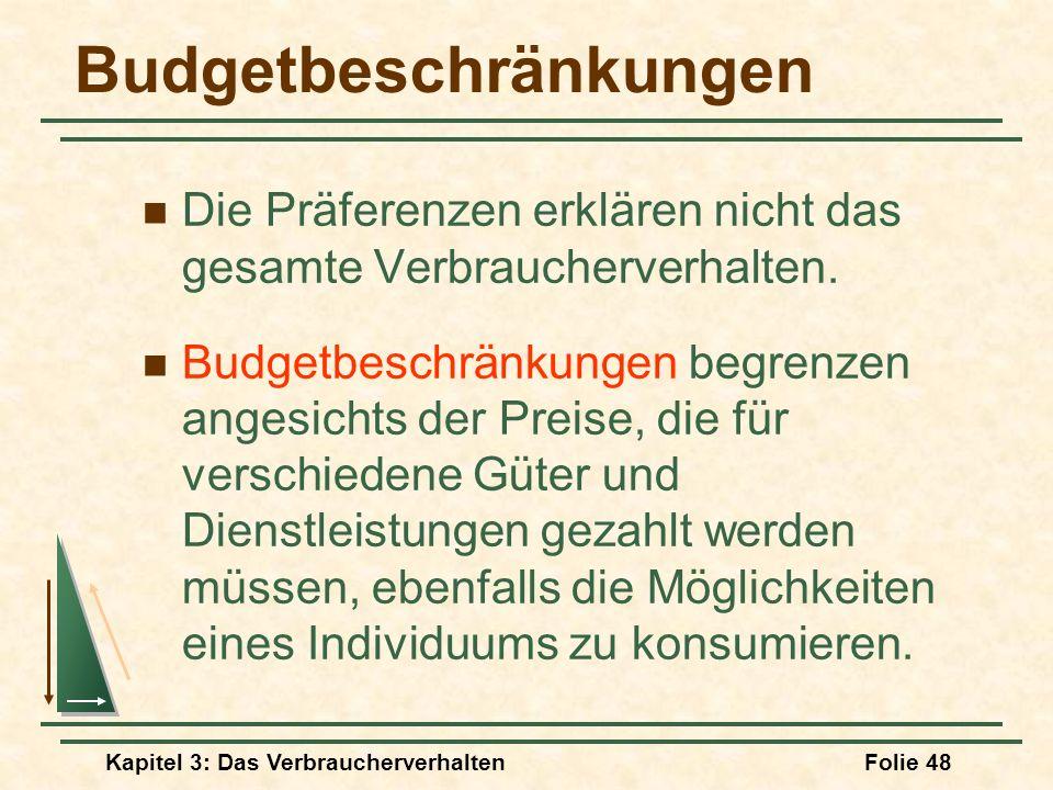 Kapitel 3: Das VerbraucherverhaltenFolie 48 Budgetbeschränkungen Die Präferenzen erklären nicht das gesamte Verbraucherverhalten.