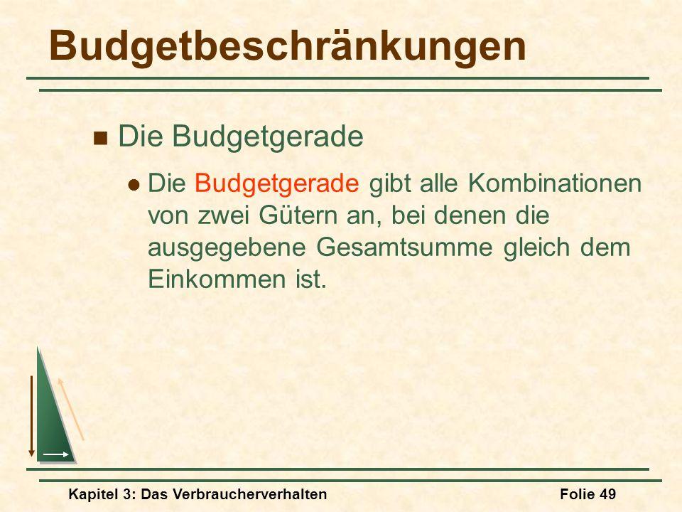 Kapitel 3: Das VerbraucherverhaltenFolie 49 Budgetbeschränkungen Die Budgetgerade Die Budgetgerade gibt alle Kombinationen von zwei Gütern an, bei denen die ausgegebene Gesamtsumme gleich dem Einkommen ist.