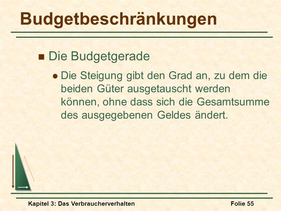 Kapitel 3: Das VerbraucherverhaltenFolie 55 Budgetbeschränkungen Die Budgetgerade Die Steigung gibt den Grad an, zu dem die beiden Güter ausgetauscht werden können, ohne dass sich die Gesamtsumme des ausgegebenen Geldes ändert.