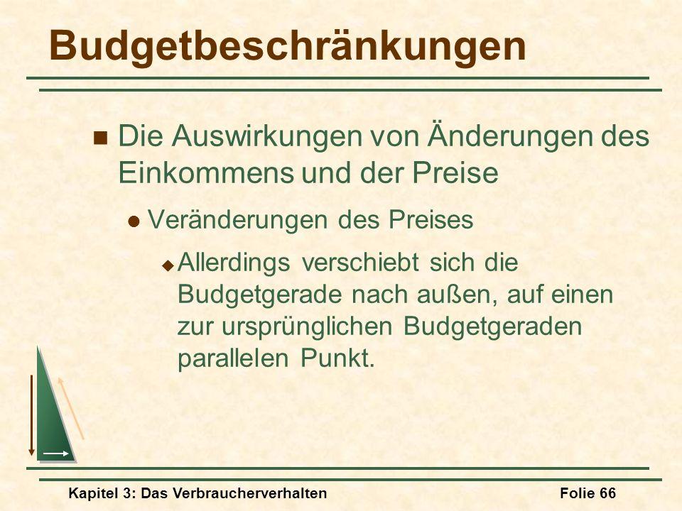 Kapitel 3: Das VerbraucherverhaltenFolie 66 Budgetbeschränkungen Die Auswirkungen von Änderungen des Einkommens und der Preise Veränderungen des Preises Allerdings verschiebt sich die Budgetgerade nach außen, auf einen zur ursprünglichen Budgetgeraden parallelen Punkt.