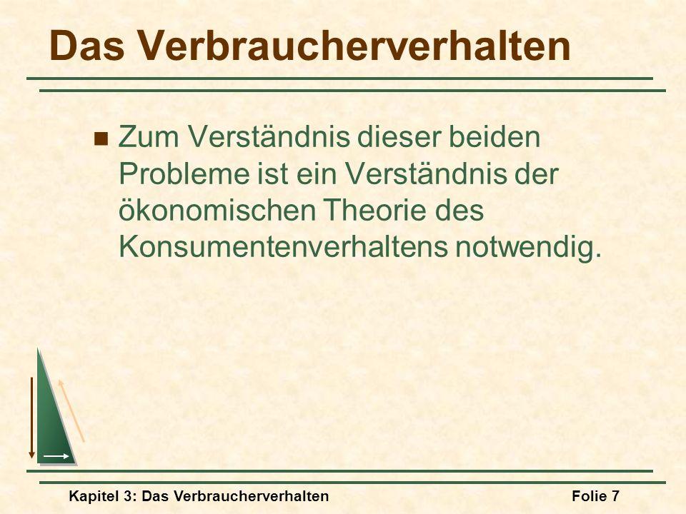 Kapitel 3: Das VerbraucherverhaltenFolie 7 Das Verbraucherverhalten Zum Verständnis dieser beiden Probleme ist ein Verständnis der ökonomischen Theorie des Konsumentenverhaltens notwendig.