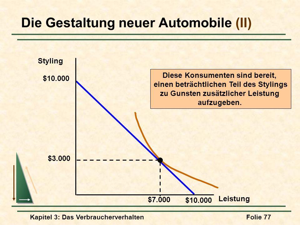 Kapitel 3: Das VerbraucherverhaltenFolie 77 Die Gestaltung neuer Automobile (II) Styling Leistung $10.000 $3.000 Diese Konsumenten sind bereit, einen beträchtlichen Teil des Stylings zu Gunsten zusätzlicher Leistung aufzugeben.