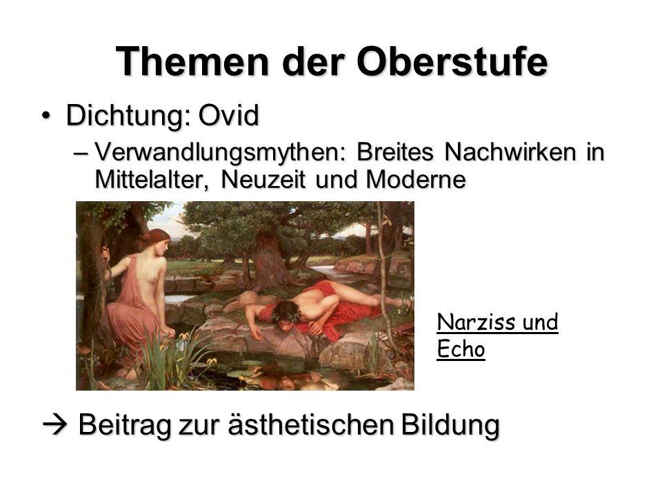 Themen der Oberstufe Dichtung: OvidDichtung: Ovid –Verwandlungsmythen: Breites Nachwirken in Mittelalter, Neuzeit und Moderne Beitrag zur ästhetischen