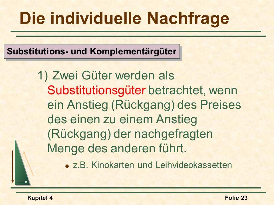 Kapitel 4Folie 23 Die individuelle Nachfrage 1) Zwei Güter werden als Substitutionsgüter betrachtet, wenn ein Anstieg (Rückgang) des Preises des einen