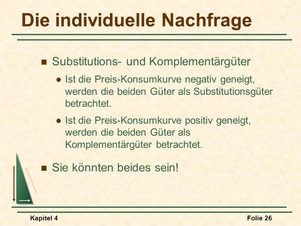 Kapitel 4Folie 26 Die individuelle Nachfrage Substitutions- und Komplementärgüter Ist die Preis-Konsumkurve negativ geneigt, werden die beiden Güter a