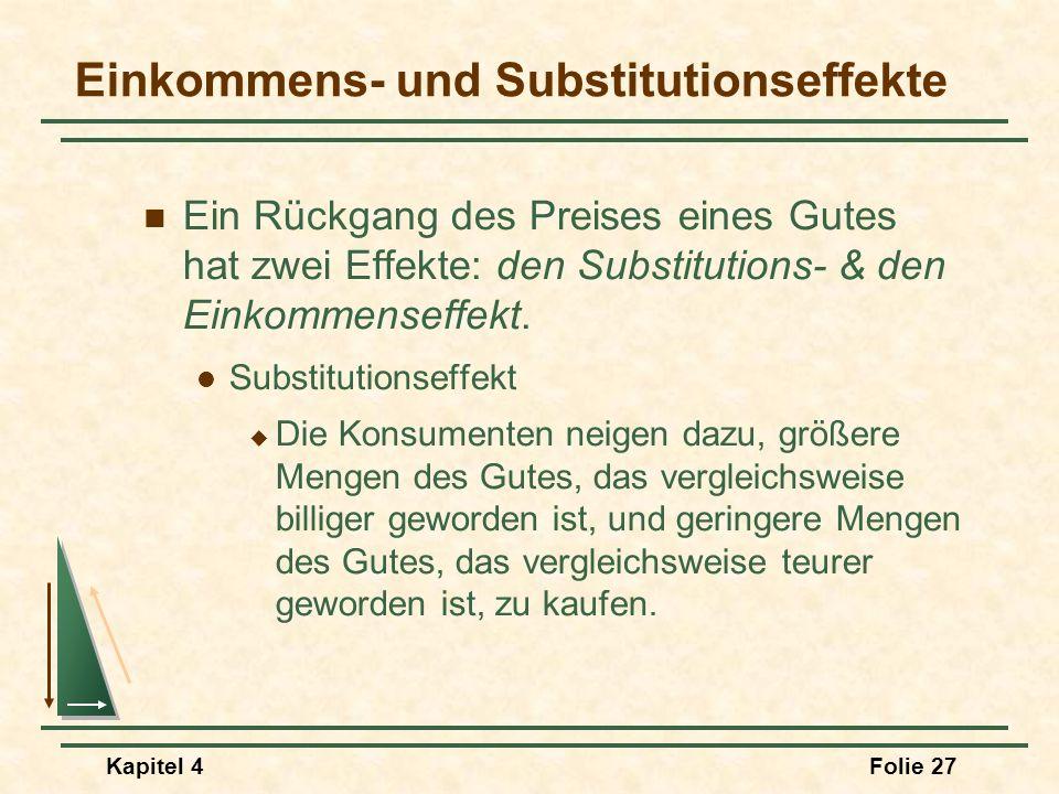 Kapitel 4Folie 27 Einkommens- und Substitutionseffekte Ein Rückgang des Preises eines Gutes hat zwei Effekte: den Substitutions- & den Einkommenseffek