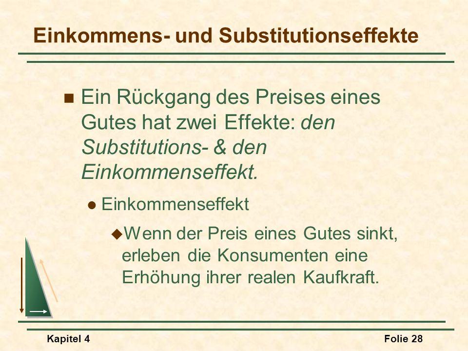Kapitel 4Folie 28 Einkommens- und Substitutionseffekte Ein Rückgang des Preises eines Gutes hat zwei Effekte: den Substitutions- & den Einkommenseffek