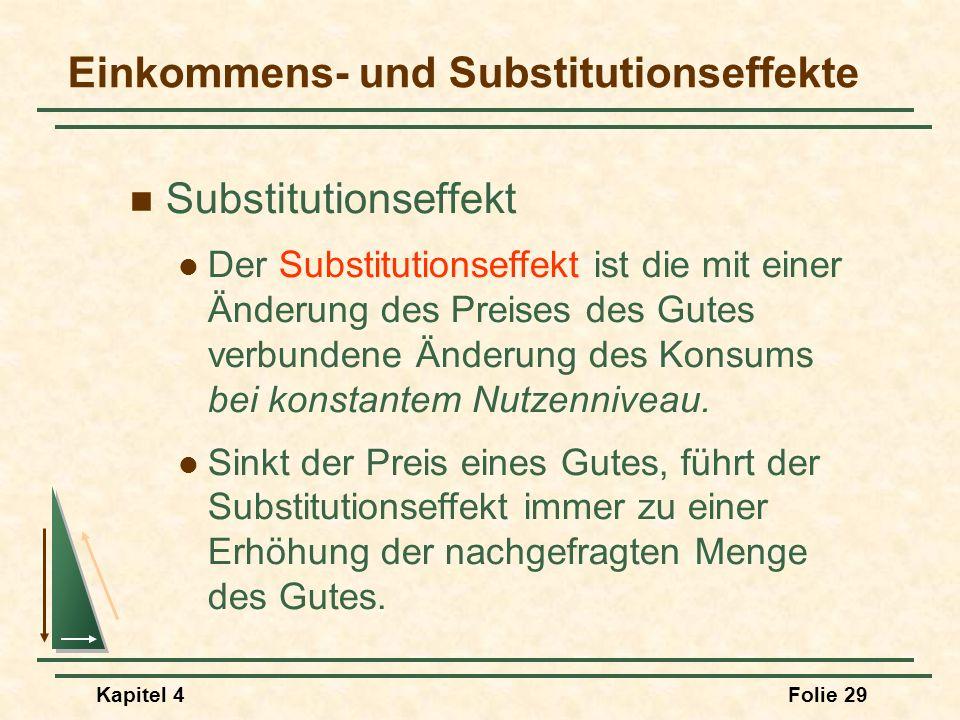 Kapitel 4Folie 29 Einkommens- und Substitutionseffekte Substitutionseffekt Der Substitutionseffekt ist die mit einer Änderung des Preises des Gutes ve