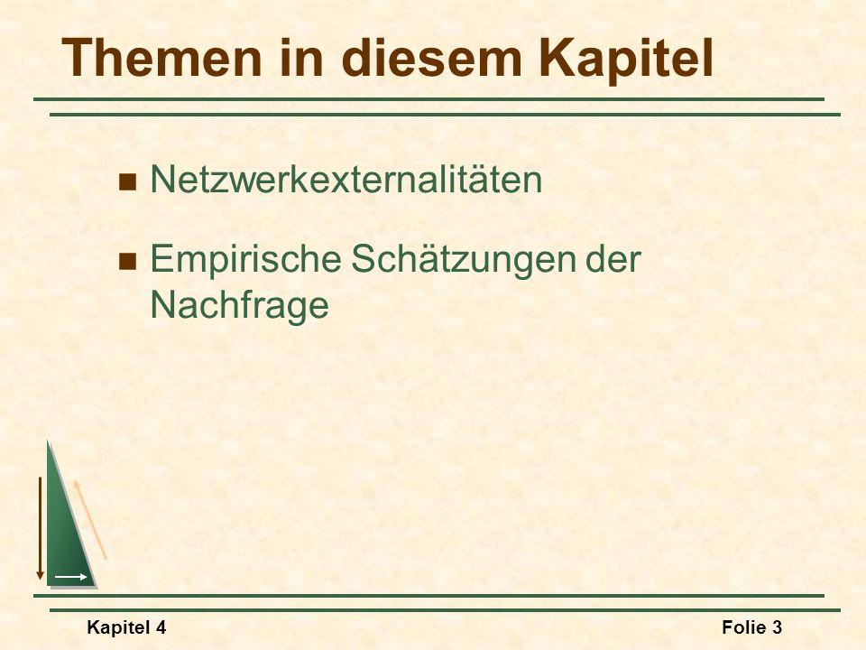Kapitel 4Folie 3 Themen in diesem Kapitel Netzwerkexternalitäten Empirische Schätzungen der Nachfrage