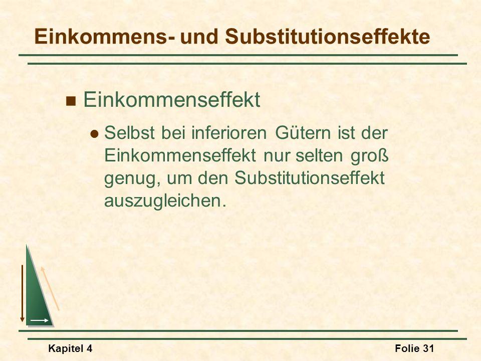 Kapitel 4Folie 31 Einkommens- und Substitutionseffekte Einkommenseffekt Selbst bei inferioren Gütern ist der Einkommenseffekt nur selten groß genug, u