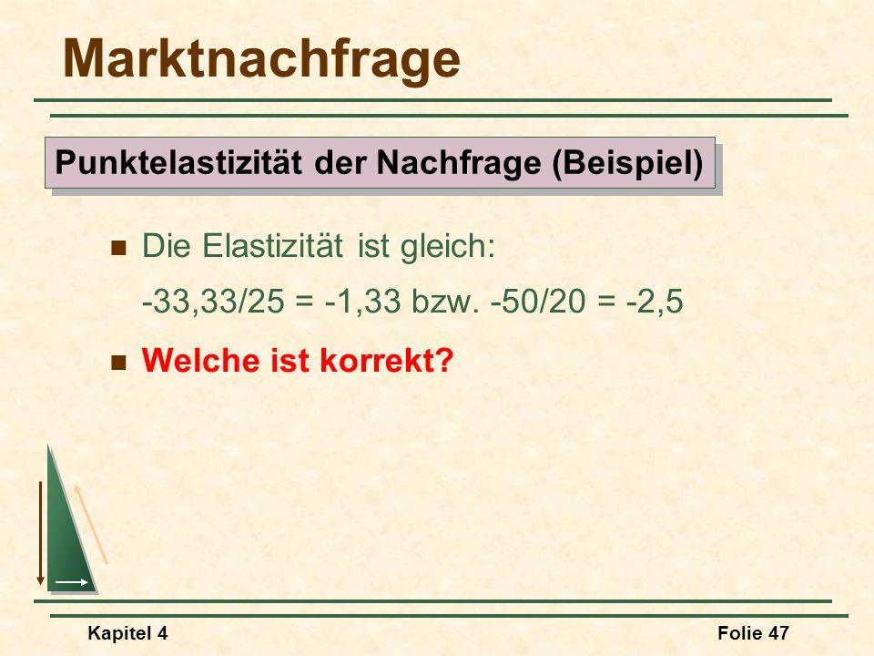Kapitel 4Folie 47 Marktnachfrage Die Elastizität ist gleich: -33,33/25 = -1,33 bzw. -50/20 = -2,5 Welche ist korrekt? Punktelastizität der Nachfrage (
