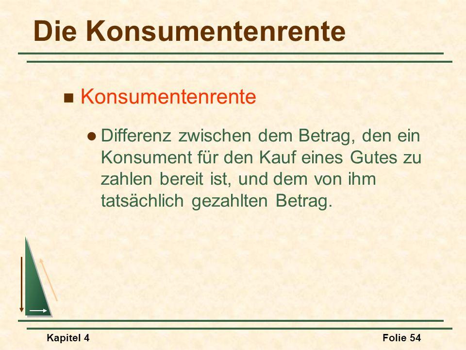 Kapitel 4Folie 54 Die Konsumentenrente Konsumentenrente Differenz zwischen dem Betrag, den ein Konsument für den Kauf eines Gutes zu zahlen bereit ist