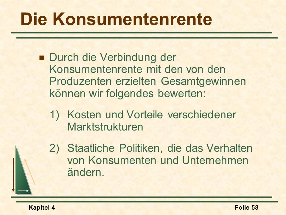 Kapitel 4Folie 58 Die Konsumentenrente Durch die Verbindung der Konsumentenrente mit den von den Produzenten erzielten Gesamtgewinnen können wir folge