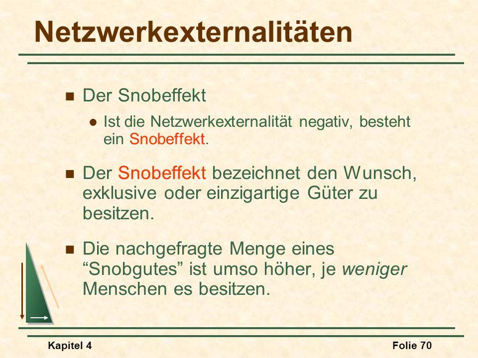 Kapitel 4Folie 70 Netzwerkexternalitäten Der Snobeffekt Ist die Netzwerkexternalität negativ, besteht ein Snobeffekt. Der Snobeffekt bezeichnet den Wu