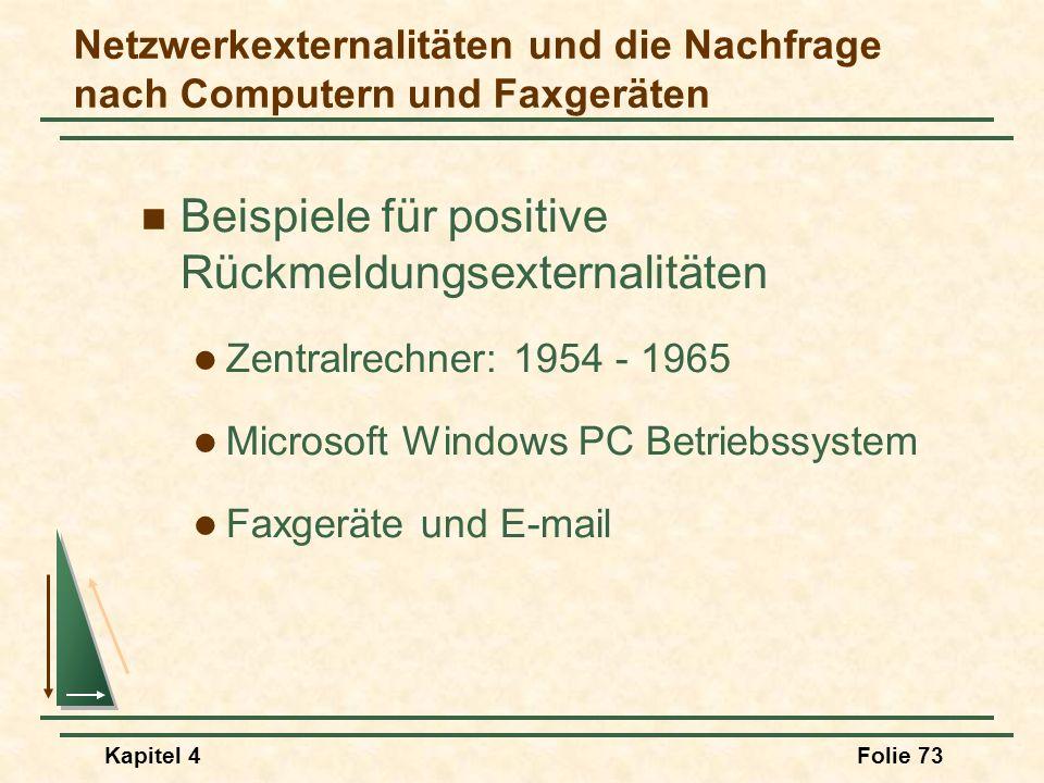 Kapitel 4Folie 73 Netzwerkexternalitäten und die Nachfrage nach Computern und Faxgeräten Beispiele für positive Rückmeldungsexternalitäten Zentralrech