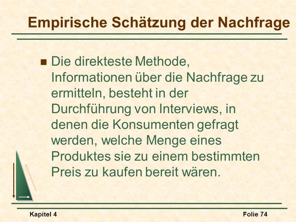 Kapitel 4Folie 74 Empirische Schätzung der Nachfrage Die direkteste Methode, Informationen über die Nachfrage zu ermitteln, besteht in der Durchführun