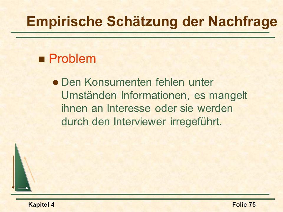 Kapitel 4Folie 75 Empirische Schätzung der Nachfrage Problem Den Konsumenten fehlen unter Umständen Informationen, es mangelt ihnen an Interesse oder