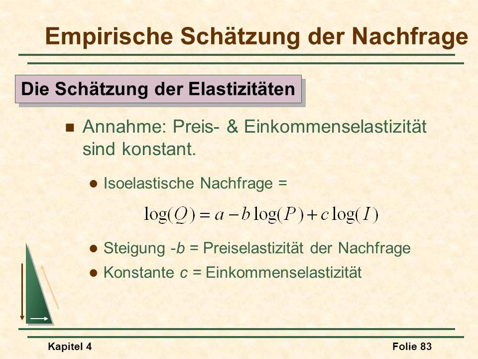 Kapitel 4Folie 83 Annahme: Preis- & Einkommenselastizität sind konstant. Isoelastische Nachfrage = Steigung -b = Preiselastizität der Nachfrage Konsta
