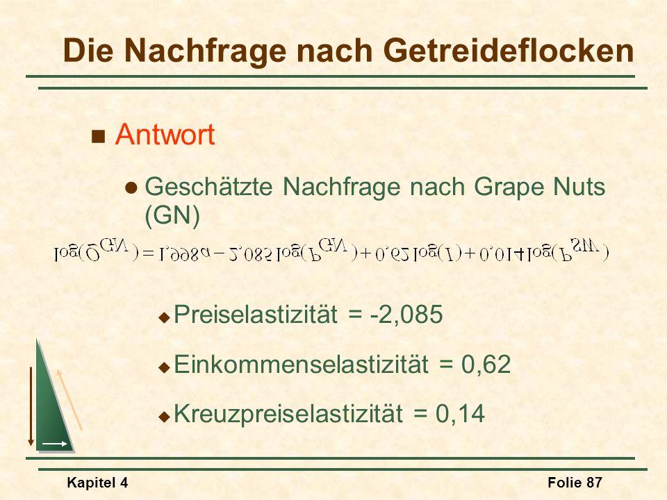 Kapitel 4Folie 87 Antwort Geschätzte Nachfrage nach Grape Nuts (GN) Preiselastizität = -2,085 Einkommenselastizität = 0,62 Kreuzpreiselastizität = 0,1