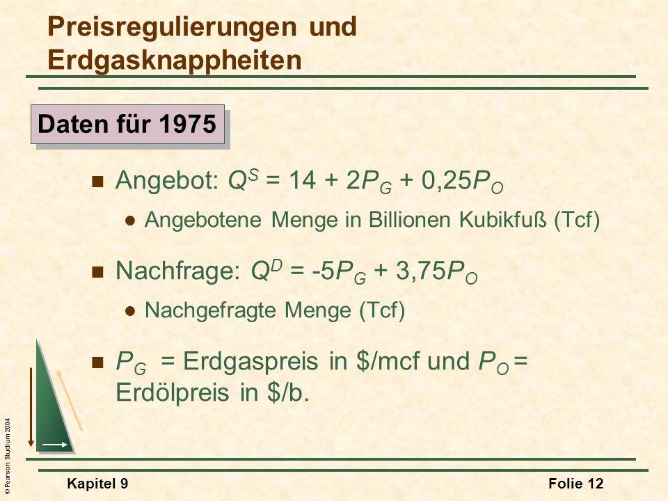 © Pearson Studium 2004 Kapitel 9Folie 12 Angebot: Q S = 14 + 2P G + 0,25P O Angebotene Menge in Billionen Kubikfuß (Tcf) Nachfrage: Q D = -5P G + 3,75