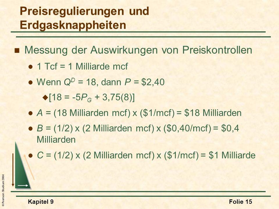 © Pearson Studium 2004 Kapitel 9Folie 15 Messung der Auswirkungen von Preiskontrollen 1 Tcf = 1 Milliarde mcf Wenn Q D = 18, dann P = $2,40 [18 = -5P G + 3,75(8)] A = (18 Milliarden mcf) x ($1/mcf) = $18 Milliarden B = (1/2) x (2 Milliarden mcf) x ($0,40/mcf) = $0,4 Milliarden C = (1/2) x (2 Milliarden mcf) x ($1/mcf) = $1 Milliarde Preisregulierungen und Erdgasknappheiten