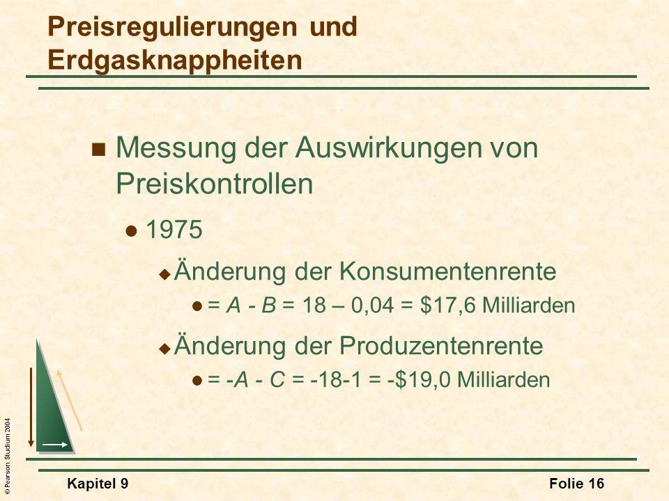 © Pearson Studium 2004 Kapitel 9Folie 16 Messung der Auswirkungen von Preiskontrollen 1975 Änderung der Konsumentenrente = A - B = 18 – 0,04 = $17,6 M