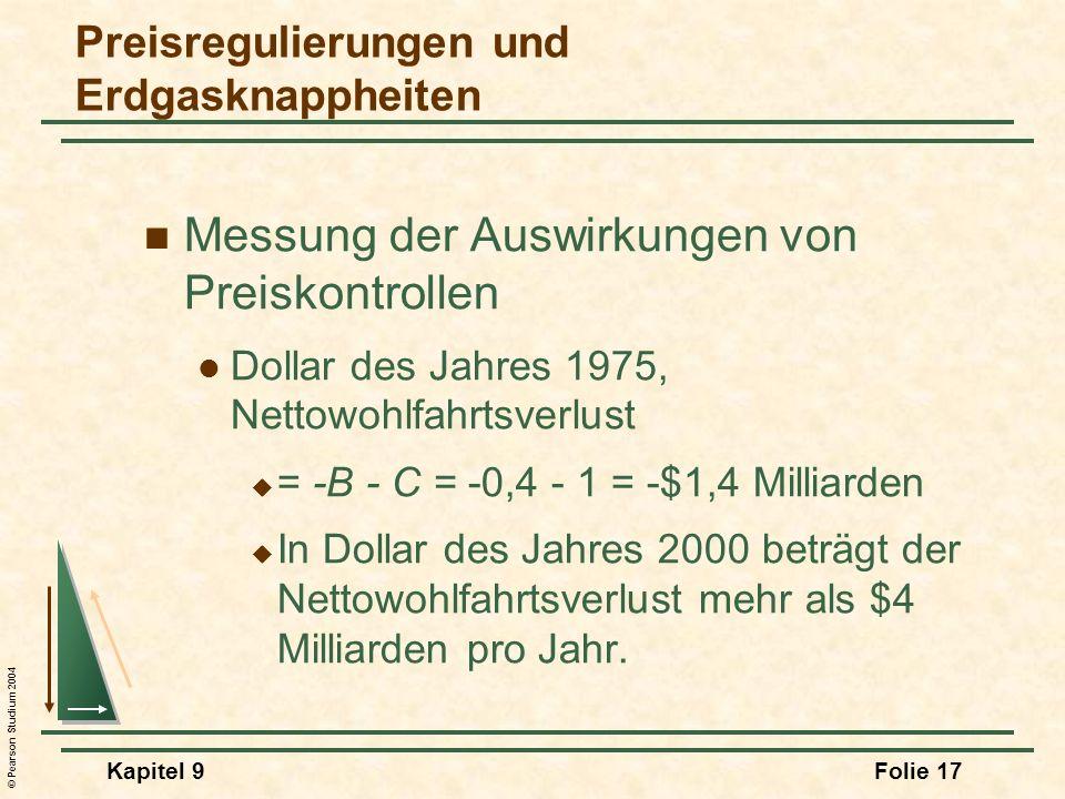 © Pearson Studium 2004 Kapitel 9Folie 17 Messung der Auswirkungen von Preiskontrollen Dollar des Jahres 1975, Nettowohlfahrtsverlust = -B - C = -0,4 - 1 = -$1,4 Milliarden In Dollar des Jahres 2000 beträgt der Nettowohlfahrtsverlust mehr als $4 Milliarden pro Jahr.