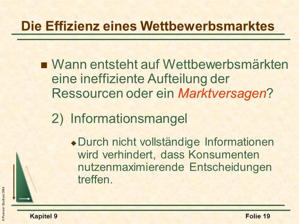 © Pearson Studium 2004 Kapitel 9Folie 19 Die Effizienz eines Wettbewerbsmarktes Wann entsteht auf Wettbewerbsmärkten eine ineffiziente Aufteilung der Ressourcen oder ein Marktversagen.