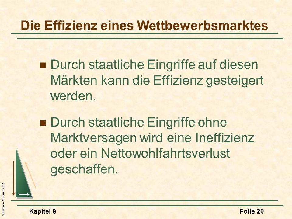 © Pearson Studium 2004 Kapitel 9Folie 20 Durch staatliche Eingriffe auf diesen Märkten kann die Effizienz gesteigert werden. Durch staatliche Eingriff