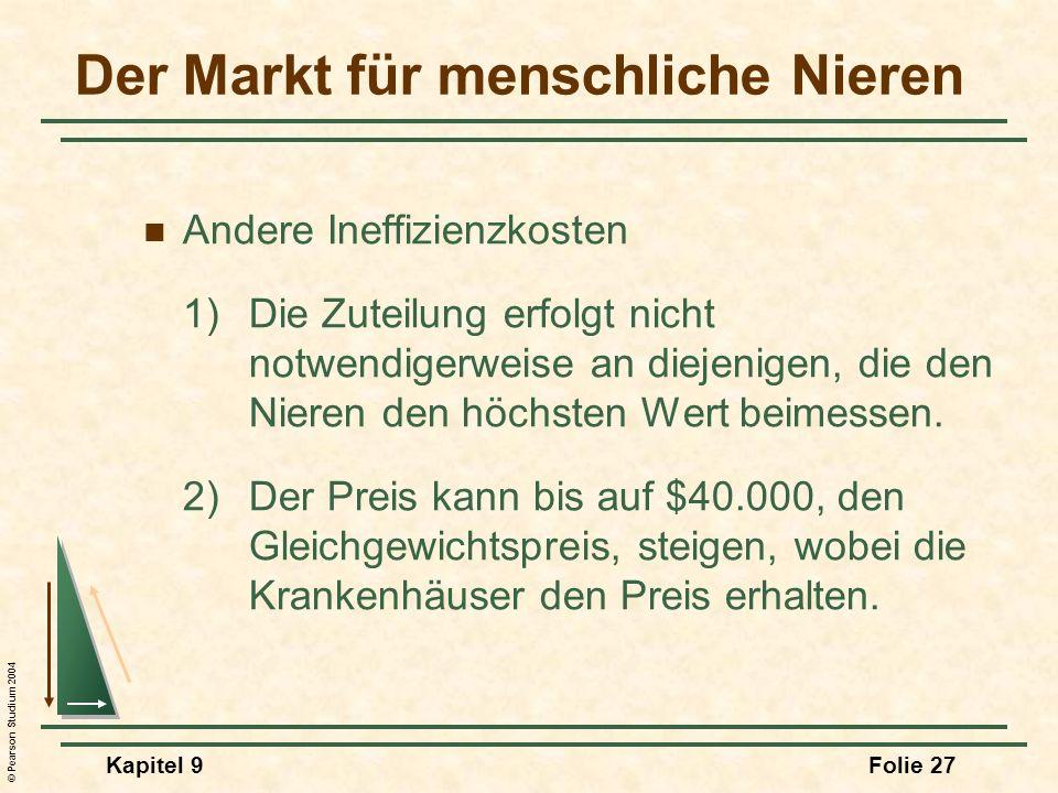 © Pearson Studium 2004 Kapitel 9Folie 27 Andere Ineffizienzkosten 1)Die Zuteilung erfolgt nicht notwendigerweise an diejenigen, die den Nieren den höc