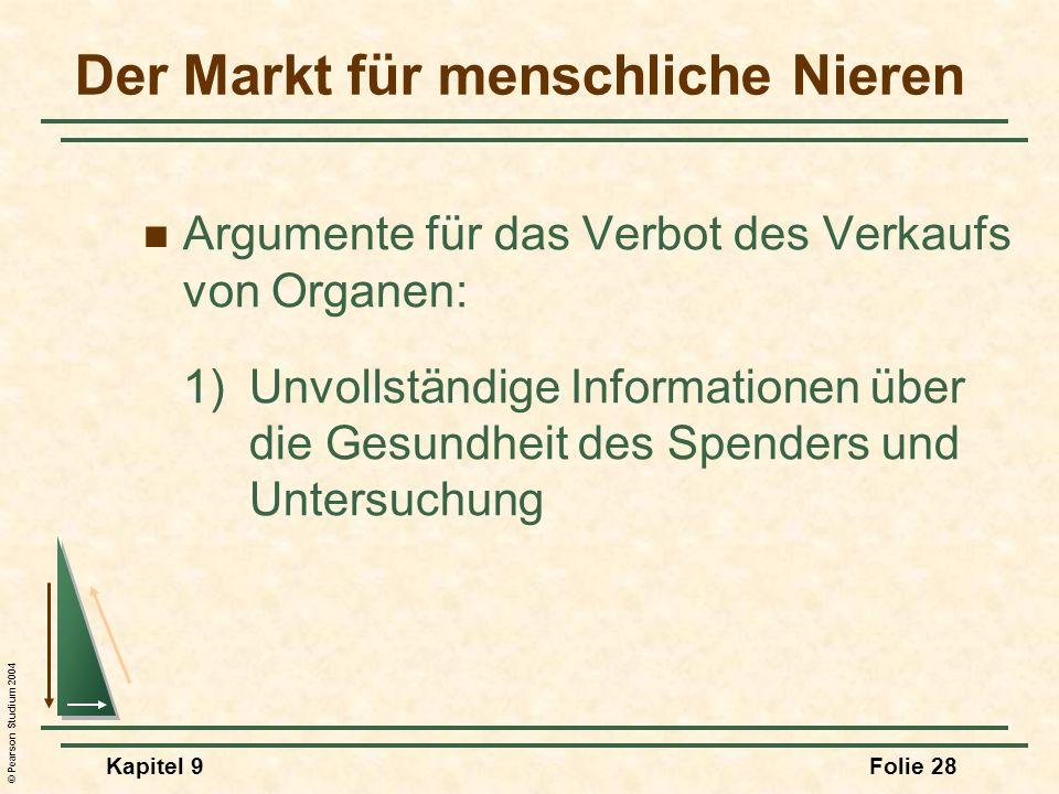 © Pearson Studium 2004 Kapitel 9Folie 28 Argumente für das Verbot des Verkaufs von Organen: 1)Unvollständige Informationen über die Gesundheit des Spenders und Untersuchung Der Markt für menschliche Nieren