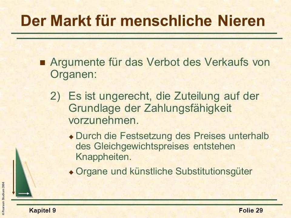 © Pearson Studium 2004 Kapitel 9Folie 29 Argumente für das Verbot des Verkaufs von Organen: 2)Es ist ungerecht, die Zuteilung auf der Grundlage der Zahlungsfähigkeit vorzunehmen.